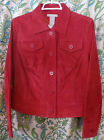 Field Gear Suede Leather Jacket Blazer Bright Red Size Medium NWT Spring New