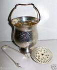 Vintage Silverplated Ice Bucket Carry Handle, Strainer & Tongs Floral Etched
