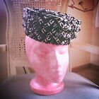 Vintage 1950s Hat Black White Braid Costume Swing Rockabilly Mod 1960s 50s 60s