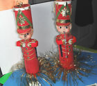 Tinsel Elf Soldier Christmas Ornaments Retro Vintage 1960s Japan