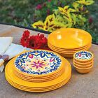 100% Melamine Dinnerware 16 PC Set BPA free Indoor Outdoor Use Plate Bowl YELLOW