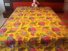 QUEEN SIZE REVERSIBLE KANTHA QUILT HANDMADE BEDSPREAD THROW FLORAL BLANKET INDIA