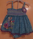 DISNEY FROZEN ELSA & ANNA 2 PC.BLUE PRINT BATHING SUIT. SZ 7/8