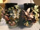 Antique 19th Century Pr French Floral Barbotine Pottery Vases * Edouard Gilles