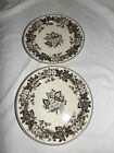 "Two's Company Plates Set of 2 9 ½ "" Brown Transferware Floral Retired"