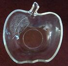 VINTAGE CUT GLASS DISH IN SHAPE OF APPLE WITH LEAFBIN