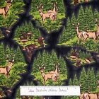 Riverwoods Fabric - Pheasant Deer Buck Scene Black - Nostalgic Hunt Cotton YARD