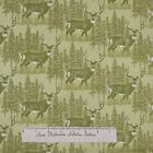 Riverwoods Fabric - Buck Deer Scene Green - Woods Water Wildlife Cotton YARD