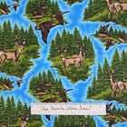 Riverwoods Fabric - Pheasant Deer Buck Scene Blue - Nostalgic Hunt Cotton YARD