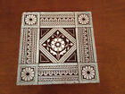 Antique Mintons China Works Stoke on Trent Tile Flower Leaf & Greek Key Dec.