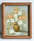 Robert Cox (1934-2001) Original Oil on canvas Painting White Roses Flowers