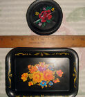 VTG FRENCH SHABBY COTTAGE PARIS APT TOLE FORAL FLOWER SNACK TRAY COASTER LOT 16!