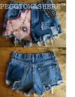 VTG rag HIGH WAIST CUT OFF lace cameo pink pearl STUD DENIM FESTIVAL SHORTS MOTO