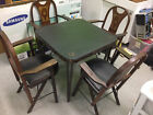 Antique Solid Kumfort Louis Rastetter Folding Chairs and Card Table BRIDGE Poker