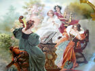 ANTIQUE HAND PAINTED ROYAL VIENNA CHARGER W/4 WOMAN QUARTET STUNNING DETAIL