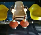 2 Mid Century Modern lamps vintage UFO diamond design table lights danish teak