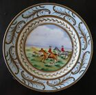 ANTIQUE UNUSUAL PORCELAIN WALL PLATE HAND PAINTED HUNTING SCENE HORSES