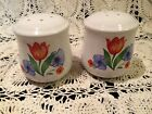 Corelle FRESH CUT tulips Salt and Pepper Shakers w/ stoppers EUC