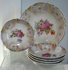 SET OF 6 PC VINTAGE PORCELAIN LUSTER  BERRY BOWLS BAVARIA FLORAL BEAUTIFUL