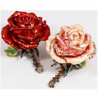 BEJEWELED RHINESTONE CRYSTAL ENAMEL TRINKET BOX - PINK OR RED ROSE FLOWER