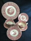 Royal Staffordshire England Jenny Lind Pink Transfer 7 Pc Set Plate Saucer Cup