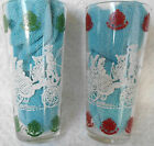 Vintage Swanky Swig Set of 2 Horse  Carriage Red White Green White Glasses 195
