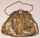 c.1940s WHITING & DAVIS Gold Mesh Evening Bag w/ Crystal Encrusted Clasp - 2908