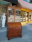 Grand Chippendale Mahogany English Secretary With Paned Glass Doors 19th Century