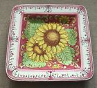 Deruta Pottery-14x14 inch Square Plate sunflower.Made/Painted by hand-Italy