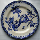 French Majolica Plate signed HB Choisy le Roi model Blue Bird perched on flowers