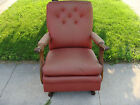 30s Vtg Seng Chicago Lounge Chair Hand Carved CREEPY ARM Red Leather Gothic Deco