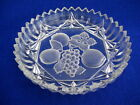Vintage Federal Clear Glass Round Nappy Bowl Frosted Pressed Fruit Design