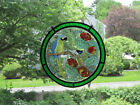 Vintage Round Leaded Stained Glass Sun Catcher Panel Real Glass 1978