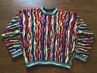 Coogi Australia Mens 100% Mercerised Cotton Cosby Style Colorful Knit Sweater L