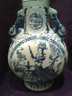 Large Chinese Blue and White Moon Vase Flask  - 1800's - 42.5 cm high