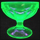 Vintage Green Uranium Glass Sherbet Dish Bowl FEG22 By Federal Depression Era