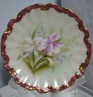 ANTIQUE HAND PAINTED LIMOGES FRANCE CABINET PLATE LILY BEAUTIFUL 8 1/2