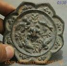 Folk Chinese Old Bronze Collect Dynasty Longevity Turtle 4 Crance Statue Mirror