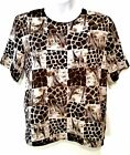 Vintage Ship N Shore Womens Short Sleeve Silky Top Blouse Animal Print Size S