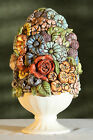 EGG-Shaped CERAMIC Flowers FLORAL Basket MCM Vintage Colorful DAISIES Roses RARE