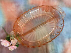 Vintage Hocking Depression Glass Pink 2 Part Divided Relish Oyster