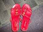 Cloud Walkers sandles 10 w womens red with gold buckles NEW faux cork 3 in h