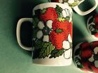 4 VINTAGE FITZ AND FLOYD WILD STRAWBERRY STRAWBERRIES TEA CUP COFFEE MUGS