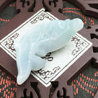 Hand-Carved Emerald Green Jade Gems Pendant & Necklace Fish Lucky Charm 160116