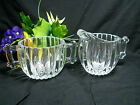 Vintage Depression Glass Jeannette Clear Creamer Sugar Ribbed & Hobnail Pattern