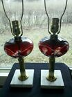 Vintage Ruby Cut To Clear Grape Vine Pattern Lamps