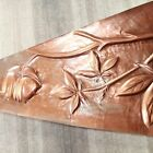 Vintage lot of 3 old embossed copper plate appliques