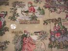VICTORIAN POSTCARD LOOKING FABRIC FQ OLD TYME SANTA TOYS CHRISTMAS SKATING MORE