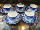 5 1900-40 CRUMLIN FLOW BLUE MYOTT & SONS ENGLAND TEA CUPS/SAUCERS SEMI PORCELAIN