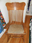 Vintage Press Back Oak Rocking Chair / Rocker with Cushion Nice!